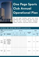 One Page Sports Club Annual Operational Plan Presentation Report Infographic PPT PDF Document