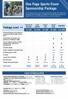 One Page Sports Event Sponsorship Package Presentation Report Infographic PPT PDF Document