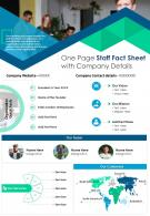 One Page Staff Fact Sheet With Company Details Presentation Report Infographic PPT PDF Document
