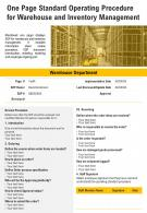 One Page Standard Operating Procedure For Warehouse And Inventory Management PPT PDF Document