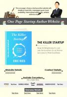 One Page Startup Author Website Presentation Report Infographic PPT PDF Document