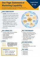 One Page Statement Of Marketing Capability Presentation Report Infographic PPT PDF Document