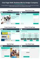 One Page Static Business Site For Design Company Presentation Report PPT PDF Document