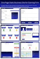 One Page Static Business Site For Gaming Firm Presentation Report PPT PDF Document