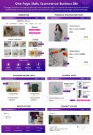 One Page Static Ecommerce Business Site Presentation Report PPT PDF Document