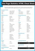 One Page Statistics HTML Cheat Sheet Presentation Report Infographic PPT PDF Document