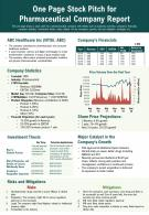 One Page Stock Pitch For Pharmaceutical Company Report Presentation Report Infographic PPT PDF Document