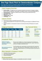 One Page Stock Pitch For Semiconductor Company Presentation Report Infographic PPT PDF Document