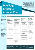 One Page Strategic Account Plan Presentation Report Infographic PPT PDF Document