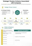 One Page Strategic Pension Scheme Associated With Company Infographic PPT PDF Document