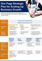 One Page Strategic Plan For Scaling Up Business Growth Presentation Report Infographic PPT PDF Document