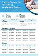 One Page Strategic Plan For Scaling Up Manufacturing Business Presentation Report Infographic PPT PDF Document