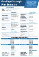 One Page Strategic Plan Summary Presentation Report Infographic PPT PDF Document
