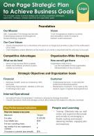 One Page Strategic Plan To Achieve Business Goals Presentation Report Infographic PPT PDF Document