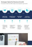 One Page Strategies Opted For Business Growth Presentation Report Infographic PPT PDF Document