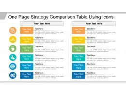 One Page Strategy Comparison Table Using Icons