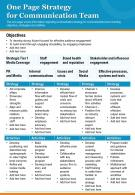 One Page Strategy For Communication Team Presentation Report Infographic PPT PDF Document