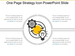 One Page Strategy Icon Powerpoint Slide