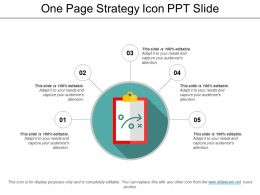 One Page Strategy Icon Ppt Slide