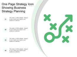 One Page Strategy Icon Showing Business Strategy Planning
