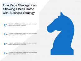 One Page Strategy Icon Showing Chess Horse With Business Strategy