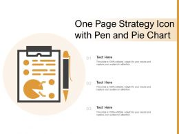 One Page Strategy Icon With Pen And Pie Chart