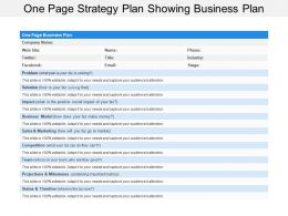 One Page Strategy Plan Showing Business Plan