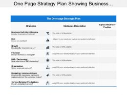 One Page Strategy Plan Showing Business Strategies And Risks