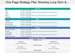 One Page Strategy Plan Showing Long Term And Short Term Goals