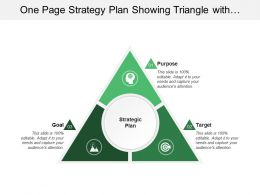 One Page Strategy Plan Showing Triangle With Purpose Target And Goal