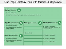 One Page Strategy Plan With Mission And Objectives