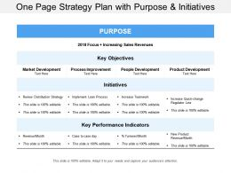 One Page Strategy Plan With Purpose And Initiatives