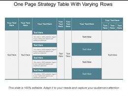 One Page Strategy Table With Varying Rows