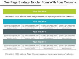 One Page Strategy Tabular Form With Four Columns