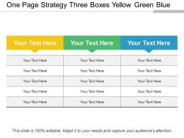 One Page Strategy Three Boxes Yellow Green Blue