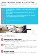 One Page Students Academic Success Service Overview Template 193 Report Infographic PPT PDF Document