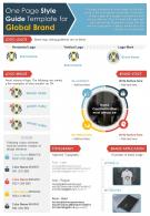 One Page Style Guide Template For Global Brand Presentation Report Infographic PPT PDF Document