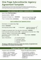 One Page Subcontractor Agency Agreement Template Presentation Report Infographic PPT PDF Document