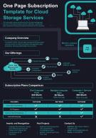 One Page Subscription Template For Cloud Storage Services Presentation Report Infographic PPT PDF Document