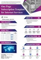 One Page Subscription Template For Internet Services Presentation Report Infographic PPT PDF Document
