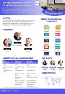 One Page Subscription Template For Website Designing Company Presentation Report Infographic PPT PDF Document