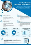 One Page Summary Departments Annual Reports Presentation Report Infographic PPT PDF Document