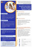 One Page Summary For Business Information And Decision Making Research Paper Report Infographic PPT PDF Document