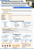 One Page Summary For Risk Management In Manufacturing Company Report PPT PDF Document