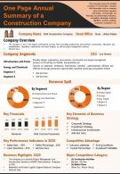 One Page Summary Of Construction Company Presentation Report Infographic PPT PDF Document