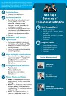 One Page Summary Of Educational Institution Presentation Report Infographic PPT PDF Document
