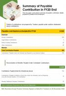One Page Summary Of Payable Contribution In Fy20 End Presentation Report Infographic PPT PDF Document