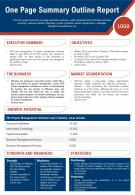 One Page Summary Outline Report Presentation Report Infographic PPT PDF Document