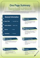 One Page Summary Template For Book Presentation Report Infographic PPT PDF Document