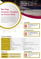 One Page Summary Template For Fiction Book Presentation Report Infographic PPT PDF Document